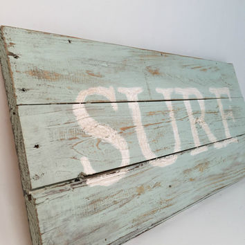 Reclaimed Wood Sign, Barn Wood Signs, Surf Sign, Surf Decor, Dorm Decor, Cottage Chic Decor, Beach Signs, Surf Wooden Sign, Nursery Wall Art