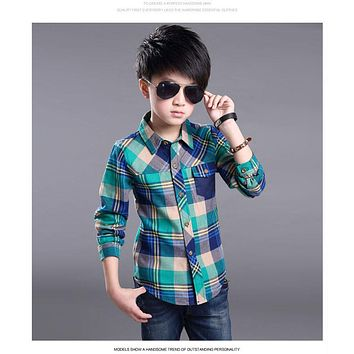 Boys Plaid Long Sleeve Shirts Spring new Cotton Kids Clothes Fashion Casual Handsome Shirt for Children