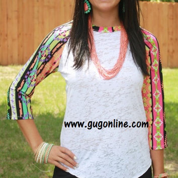 Wondering Eye Burnout Baseball Tee in Colorful Lime Aztec