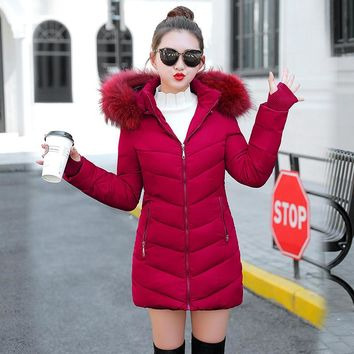 2018 Winter Jacket Women thick Winter Coat Lady Clothing Female Jackets Long Parkas Fake fur collar Parka down cotton jacket