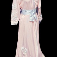 GORGEOUS VINTAGE EARLY 1990s NATORI SAKS FIFTH AVENUE PINK & BLUE APPLIQUE SATIN ROBE PEIGNOIR WITH OBI SASH