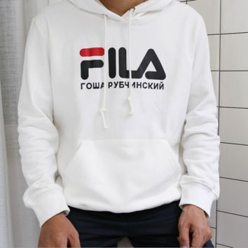 FILA Fashion Casual Long Sleeve print sweater hoodie pullover White G