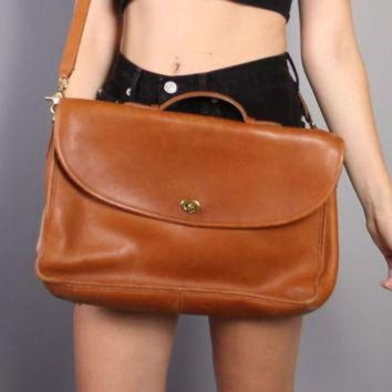 80s Coach Leather Briefcase / Tan Messenger Bag Satchel With Shoulder Strap - Beauty Ticks