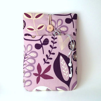 Purple iPad Air 2 Case,Violet iPad 4 3 2 Sleeve, Smart Cover Fabric Pouch, Padded Tablet Bag, Lavender Flowers Lilac Floral Sac Ladies Girls