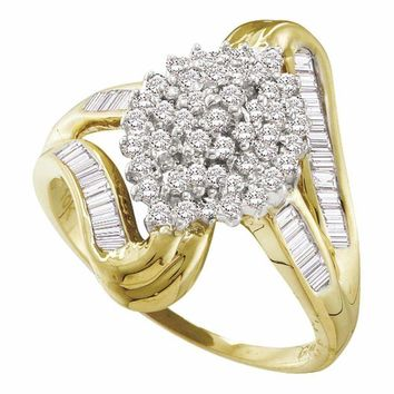 10kt Yellow Gold Women's Round Diamond Cluster Swirl Shank Baguette Ring 1-2 Cttw - FREE Shipping (USA/CAN)