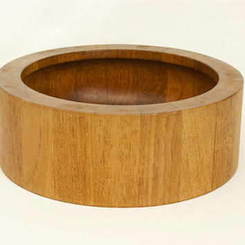 Vintage Dansk Teak Bowl, Large Solid Wood Serving Salad Bowl, IHQ Made in Denmark
