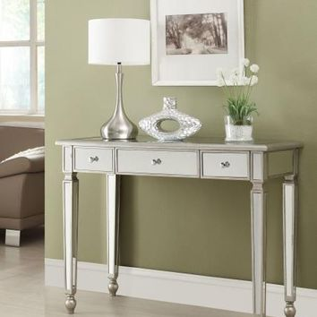 Coaster 950014 Mirror paneled three drawer hall console table with legs and antique silver accents