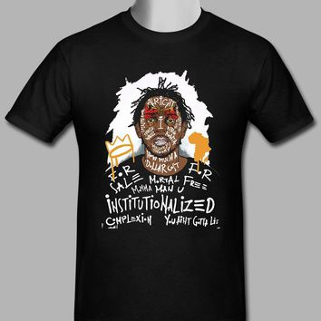 ca kuyou Kendrick Lamar Men's Custom Black T-shirt