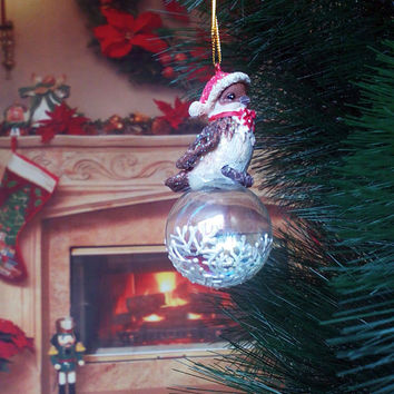 PERSONALIZED Hand painted glass ball Christmas tree Bird ornament  White Winter Snowflakes