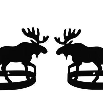 Wrought Iron Moose & Pine Curtain Tie Back -Set