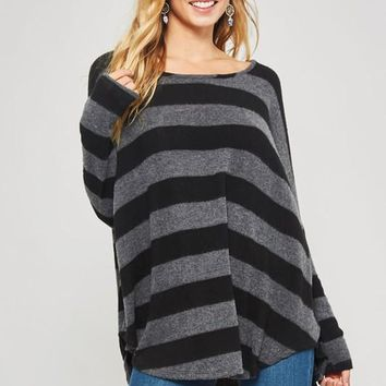 Striped Print Knit Top (Black-Charcoal)