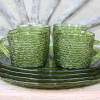 vintage luncheon plates, Soreno-Avocado Green snack plates and cups, vintage Anchor Hocking green glassware, Mid Century glass snack sets