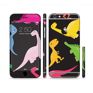 The Vector Neon Dinosaur Sectioned Skin Series for the Apple iPhone 6 Plus