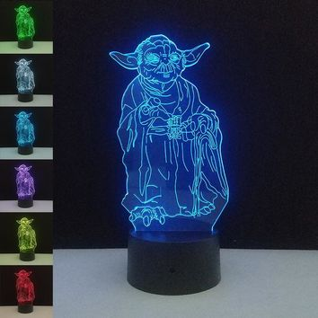 Stars Wars LED 3D Night Lights Creative Led Illusion Lamp Light Desk Table Lamp Lighting 7 Color Change Luminaria New Year Gifts