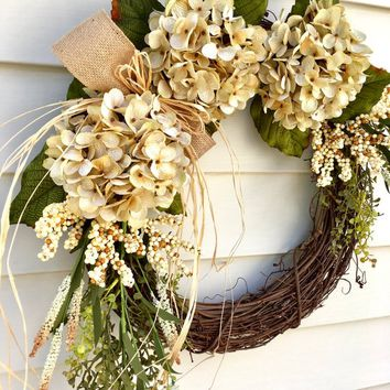 Fall door wreath, Hydrangea wreath natural, year round wreath, Front door wreath, Hydrangea wreath, cream wreath, neutral wreath for door