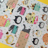 Cartoon cat filofax sticker cat planner seal Japanese cat diary sticker cat can fat meow meow lazy cat label deco cat card cat tag cat gift