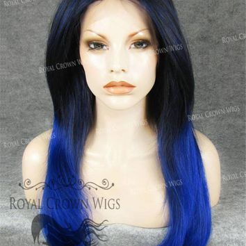 "24 inch Heat Safe Synthetic Straight Texture Lace Front ""Aphrodite"" in Blue Ombre"