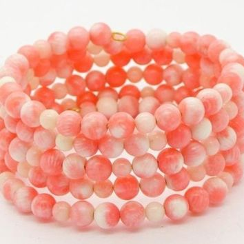 Vintage Angel Skin Coral Beaded wrap Bracelet
