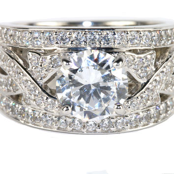 Cubic Zirconia 2 4/5 CT. TW.  Vintage Wide Band Engagement Ring