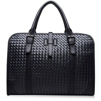 Casual Men's Briefcase With PU Leather and Weaving Design   Black