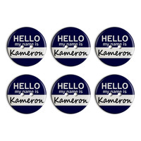 Kameron Hello My Name Is Plastic Resin Button Set of 6