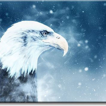 American Eagle in Winter Picture on Stretched Canvas, Wall Art Décor, Ready to Hang