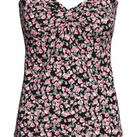 H&M - Tube Top - Black/small floral - Ladies