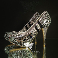 The Famous New Mirror Clear Black Crystals Luxury Heels