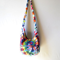 Tie Dye Hobo Bag, Sling Bag, Bright, Colorful, Psychedelic, Retro, Rainbow, Summer, Boho Bag, Crossbody Bag