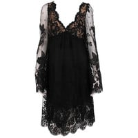 Bill Blass bell sleeve black lace plunge cocktail dress 1970s