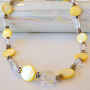 Sunny Yellow Pearl Necklace with Silver Flower Beads. Pastel Yellow. White. Pearl Necklace. Flower Jewelry. Jewelry Sale. Clearance Jewelry.
