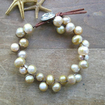 Boho knotted bracelet with freshwater pearls - Love Knots - Bohemian wrap bracelet, beach wedding, country chic, french fleur de lis,