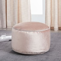 Cotton Luster Velvet Pouf - Dusty Blush