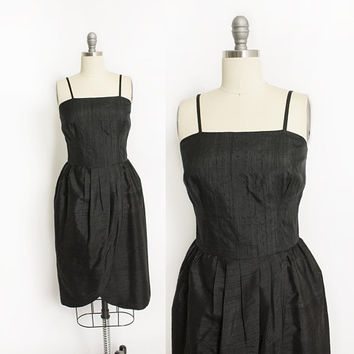 Vintage 1960s Dress - Black Tulip Skirt Sleeveless Party Cocktail Dress 60s - Medium