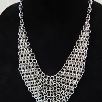 Chain Maille Drape Necklace, Chain Necklace, Silver Chainmail Jewelry
