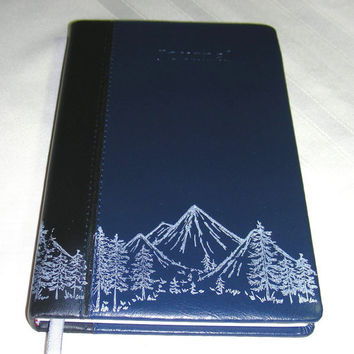"""Writing Journal Lined Mountain Range Printed Leather Like Handcrafted Diary Notebook Blue 5 1/8"""" x 8 1/4"""""""