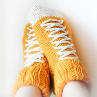 Hand Knit socks, Warm Golden Winter Wear, Hipster Clothing