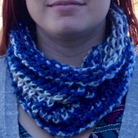 Hand Crochet Infinity Scarf with Blue, Gray, and White Stripes