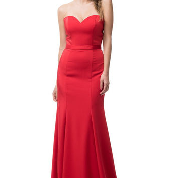 Strapless Empire Waist Prom Evening Long Dress