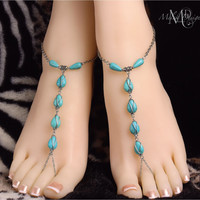 Silver Turquoise Barefoot Sandals Wire Wrapped Foot Jewelry