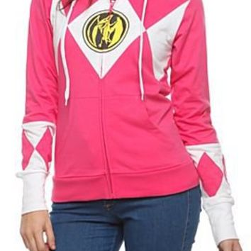 Mighty Morphin Power Rangers Pink Ranger Girls Zip Hoodie - 341613