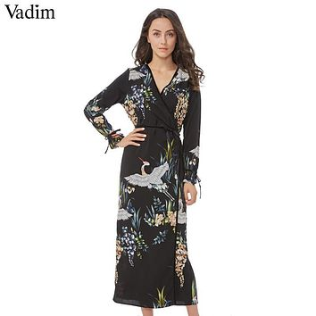 Vadim flower crane pattern maxi wrap dress v neck retro sashes bow tie long sleeve vintage bird chic long loose casual Vestidos