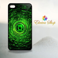 iPhone 4 4s Hard Case - Green Lantern Super Hero Logo - Iphone Cover iP4 (Black / White Color Case)