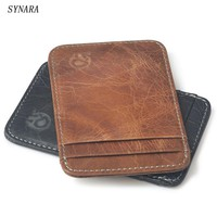 men genuine leather Simple ID holder sets card package Wallet door clip card holder Credit Card