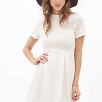 FOREVER 21 MatelassA(c) High-Neck Dress Cream