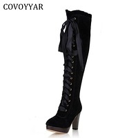 Fashion Knee High Boots Women High Heeled Riding Knight Boots Fall Winter Lace Up Shoes