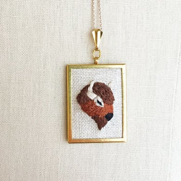 Embroidered Necklace Embroidered Bison Buffalo Embroidery Pendant or Brooch Buffalo Jewelry Embroidered Pendant