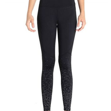 Beaded Paneled Skinny Stretch Leggings
