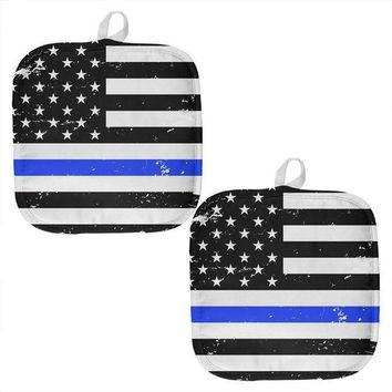 PEAPGQ9 Distressed Thin Blue Line American Flag All Over Pot Holder (Set of 2)