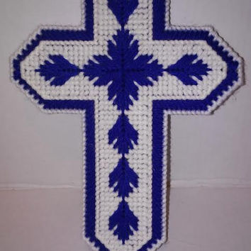 Easter Cross, Plastic Canvas, Firefighters Cross, Wedding Cross, EMT, Christening, Needle Craft, Religious Gift, Holiday Decor, Hostess Gift